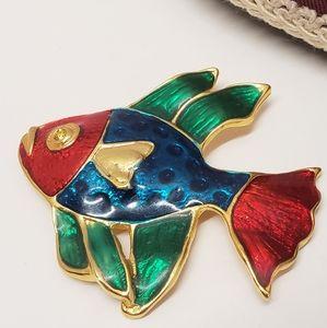 Amazing Bright Colored Fish Brooch